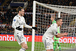 November 27, 2018 - Rome, Italy - Lucas Vazquez celebrates after scoring goal 0-2 during the UEFA Champions League match group G between AS Roma and Real Madrid FC at the Olympic stadium on november 27, 2018 in Rome, Italy. (Credit Image: © Silvia Lore/NurPhoto via ZUMA Press)