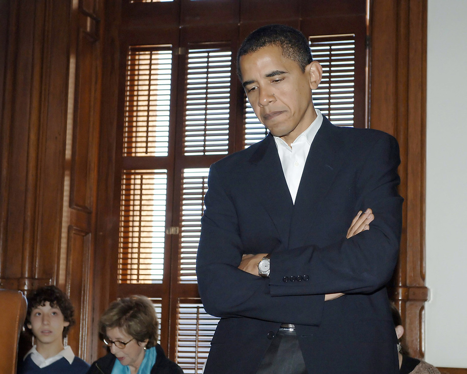 Austin, TX October 28, 2006: Pensive Barack Obama prior to speaking at the opening session of the 2006 Texas Book Festival at the State Capitol. ©Bob Daemmrich/
