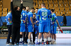Ljubomir Vranjes, haed coach of Slovenia with his players during handball match between National Teams of Slovenia and Poland in Qualification Phase 2 of Men's EHF Euro 2022 Qualifiers, on March 9, 2021 in Arena Zlatorog, Celje, Slovenia. Photo by Vid Ponikvar / Sportida