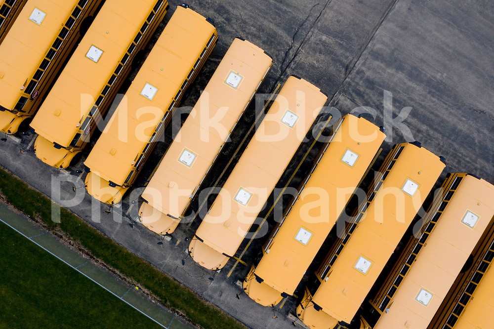 Aerial drone images of St. Charles School District 303 school bus parking in St. Charles on Tuesday, Dec. 22, 2020. Photo by Mark Black