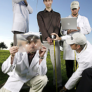 """Sports Illustrated senior writer Alan Shipnuck, center, wrote a piece about """"Custom Club Fitting"""" for golfers. Photographed for Sports Illustrated."""