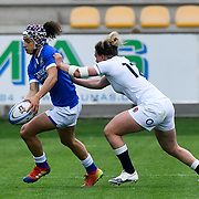 Parma 10/04/2021 Stadio Sergio Lanfranchi<br /> Sei Nazioni femminile 2021<br /> Italia vs Inghilterra <br /> <br /> Michela Sillari placcata da Megan Jones