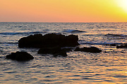Sun setting over the Mediterranean Sea, Israel