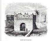 Gate of Tuggurt [Touggourt, Algeria] From the Book ' Great Sahara: wanderings south of the Atlas Mountains. ' by Tristram, H. B. (Henry Baker),  Published by J. Murray in London in 1860