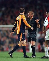 Referee Mr.Graham Poll shows Dietmar Hamann the thumb to leave the field after being sent off for a second yellow card offence.Arsenal v Liverpool. 21/8/2000. Credit: Andrew Cowie / Colorsport.