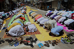 June 15, 2018 - Allahabad, West Bengal, India - Indian Muslims offer prayers on the last congregational Friday of the holy month of Ramadan, following the Muslim Festival Eid al-Fitr, the biggest Muslim festive event, in the old streets of Allahabad. (Credit Image: © Ritesh Shukla/NurPhoto via ZUMA Press)