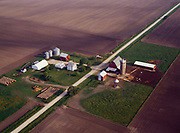 Aerial view of well manicured farm in the vicinity of Kankakee, northeastern Illinois.