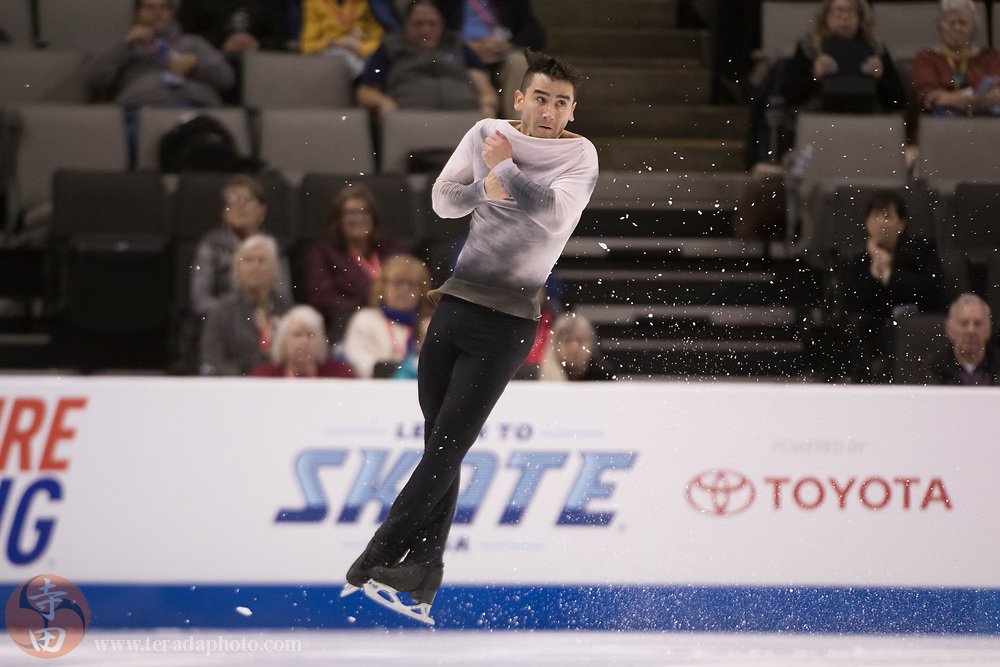 January 4, 2018; San Jose, CA, USA; Max Aaron performs in the mens short program during the 2018 U.S. Figure Skating Championships at SAP Center.