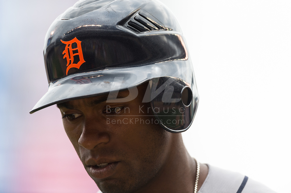 Austin Jackson of the Detroit Tigers heads into the dugout during a game against the Minnesota Twins on August 15, 2012 at Target Field in Minneapolis, Minnesota.  The Tigers defeated the Twins 5 to 1.  Photo: Ben Krause