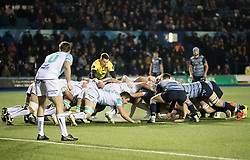 Cardiff Blues' Tomos Williams puts in to the scrum<br /> <br /> Photographer Simon King/Replay Images<br /> <br /> Guinness Pro14 Round 9 - Cardiff Blues v Connacht Rugby - Friday 24th November 2017 - Cardiff Arms Park - Cardiff<br /> <br /> World Copyright © 2017 Replay Images. All rights reserved. info@replayimages.co.uk - www.replayimages.co.uk