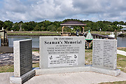 The Lowcountry Seaman's Memorial erected along Jeremy Creek in the tiny hamlet of McClellanville, South Carolina. McClellanville is a tiny fishing village inside the Cape Romain National Wildlife Refuge and surrounded by Francis Marion National Forest.