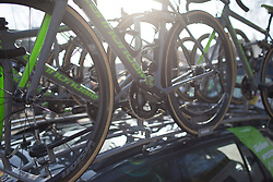 Cylance Pro Cycling bikes are ready for the Ronde Van Vlaanderen - a 153.2 km road race, starting and finishing in Oudenaarde on April 2, 2017, in East Flanders, Belgium.