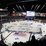 Grammy award winner Michelle Williams sings the National Anthem at Yankee Stadium before the New York Rangers Vs New York Islanders  NHL regular season game held outdoors at Yankee Stadium, The Bronx, New York, USA. 29th January 2014. Photo Tim Clayton