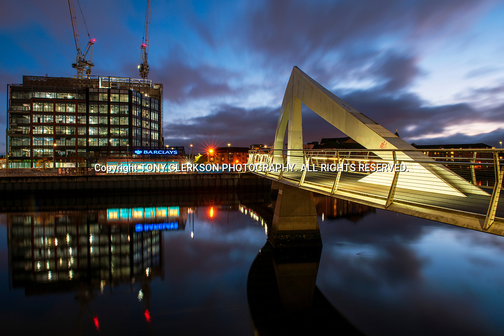 The Squiggly Bridge and the Buchanan Wharf development as Glasgow's financial district expands south of the river