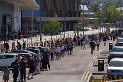 © Licensed to London News Pictures. 01/06/2020. London, UK. A large queue forms outside the Greenwich branch of Ikea which reopened today. The store has been closed since lockdown began in March. Photo credit: George Cracknell Wright/LNP