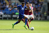 Nathaniel Mendez-Laing of Cardiff city runs past James Chester of Aston Villa.  EFL Skybet championship match, Cardiff city v Aston Villa at the Cardiff City Stadium in Cardiff, South Wales on Saturday 12th August 2017.<br /> pic by Andrew Orchard, Andrew Orchard sports photography.