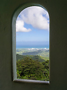 A view of San Juan, Puerto Rico, from a window in Yokahu Tower, El Yunque National Forest.