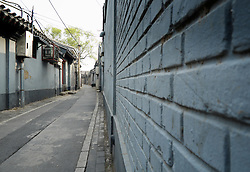 View along traditional old lane or hutong in Beijing China