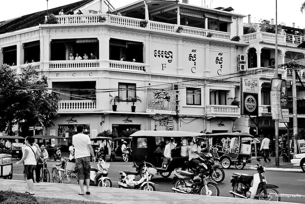 The exterior of the Foreign Correspondents' Club, Sisowath Quay.Phnom Penh, Cambodia