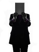 One Caucasian Senior Business Man holding digital tablet Silhouette White Background