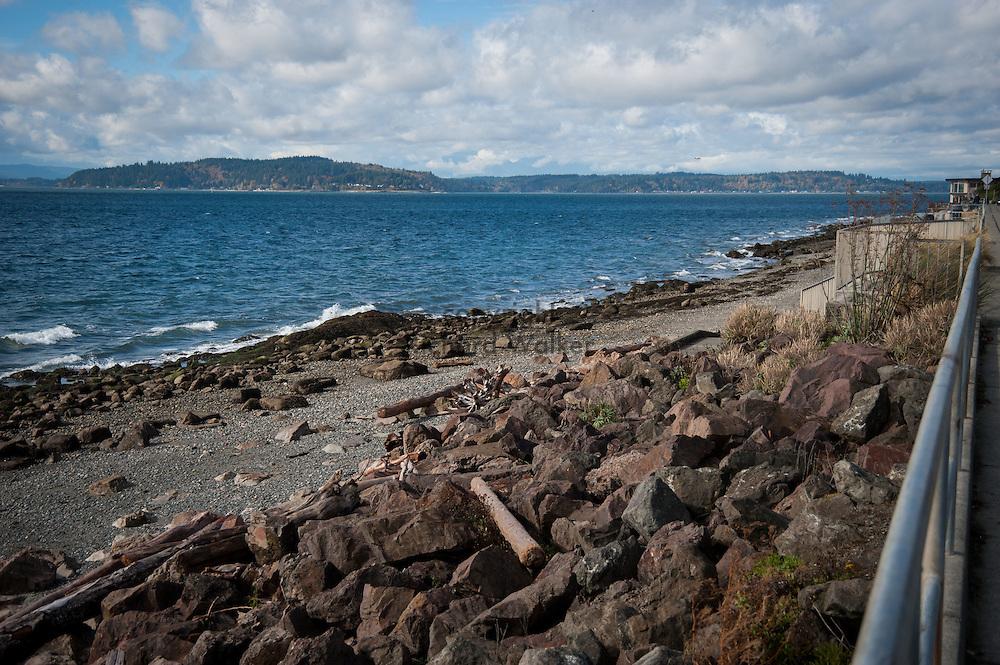 2016 October 18 - Beach scene off Charles Richey Sr Viewpoint on Beach Drive SW, Alki, West Seattle, WA, USA. By Richard Walker