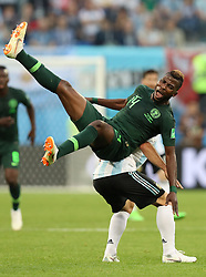 June 26, 2018 - Saint Petersburg, Russia - Kelechi Iheanacho (front) of Nigeria vies with Javier Mascherano of Argentina during the 2018 FIFA World Cup Group D match between Nigeria and Argentina in Saint Petersburg, Russia, June 26, 2018. (Credit Image: © Yang Lei/Xinhua via ZUMA Wire)