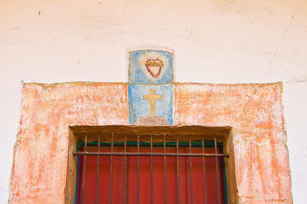 Painted window frame, Santa Barbara Mission (Queen of the missions), Santa Barbara, California