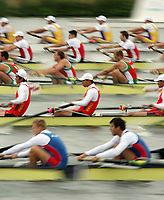 Photo: Chris Ratcliffe.<br /> <br /> World Rowing Championships. 24/08/2006.<br /> <br /> Side view of the Men's Eight at the World Rowing Championships.