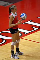 11 September 2007:  Ashley Hughes prepares to serve. Ohio State Buckeyes bested the Illinois State Redbirds 3 games to 1 at Redbird Arena on the campus of Illinois State University in Normal Illinois.
