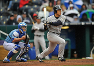 April 12, 2009:  Hideki Matsui #55 of the New York Yankees drives a base hit to right field during a game against the Kansas City Royals at Kauffman Stadium in Kansas City, Missouri.  The Royals defeated the Yankees 6-4.