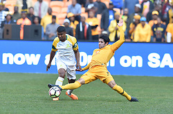 Kaizer Chiefs Leonardo Castro and Mamelodi Sundowns player Lyle Lakay battle for the ball during the Shell Helix Ultra Cup at FNB stadium, Johannesburg.<br />Picture: Itumeleng English/African News Agency (ANA)
