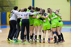 Players of RK Zagorje celebrate after handball match between ZRK Mlinotest Ajdovscina and RK Zagorje in 17th Round of Slovenian Women Handball League 2015/16 on April 6, 2016 in Sports hall Police Ajdovscina, Ajdovscina, Slovenia. Photo By Urban Urbanc / Sportida