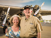 """Peggy and Ashley Messenger.  Ashley is a retired Comair pilot, and together they """"tour"""" the Transcontinental Air Transit Ford Tri-Motor around the country.  <br /> <br /> Created by aviation photographer John Slemp of Aerographs Aviation Photography. Clients include Goodyear Aviation Tires, Phillips 66 Aviation Fuels, Smithsonian Air & Space magazine, and The Lindbergh Foundation.  Specialising in high end commercial aviation photography and the supply of aviation stock photography for commercial and marketing use."""
