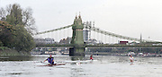 """Putney. London. GREAT BRITAIN; left to right, NED LM1X, Frans GOEBELL, GBR LM1X Peter HAINING and IRL LM1X. Niall O'TOOLE, approaching Hammersmith Bridge. <br /> <br /> 1995 Thames World Sculling Championships, Putney to Mortlake. Championship Course, River Thames.<br /> <br /> [Mandatory Credit; """"Photo, Peter Spurrier/Intersport-images]"""