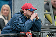 York City fans upset having seen their side suffer back to back relegation into the National League North after the final whistle of the Vanarama National League match between York City and Forest Green Rovers at Bootham Crescent, York, England on 29 April 2017. Photo by Mark PDoherty.