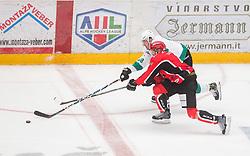 Miha Zajc of Olimpija vs Andrej Tavzelj of Jesenice  during ice hockey match between HDD SIJ Acroni Jesenice and HK SZ Olimpija in 10th Round of AHL - Alps Hockey League 2017/18, on October 14, 2017 in Arena Podmezakla, Jesenice, Slovenia. Photo by Vid Ponikvar / Sportida