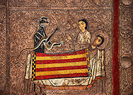 Romanesque painted altar front from Santa Maria Gia, Spain, showing the temptaion of Saint Martin.  National Art Museum of Catalonia, Barcelona 1958. Ref: MNAC 3902. .<br /> <br /> If you prefer you can also buy from our ALAMY PHOTO LIBRARY  Collection visit : https://www.alamy.com/portfolio/paul-williams-funkystock/romanesque-art-antiquities.html<br /> Type -     MNAC     - into the LOWER SEARCH WITHIN GALLERY box. Refine search by adding background colour, place, subject etc<br /> <br /> Visit our ROMANESQUE ART PHOTO COLLECTION for more   photos  to download or buy as prints https://funkystock.photoshelter.com/gallery-collection/Medieval-Romanesque-Art-Antiquities-Historic-Sites-Pictures-Images-of/C0000uYGQT94tY_Y