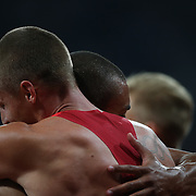 Ashton Eaton, USA,and Trey Hardee, USA embrace after their Gold and Silver Medal performance in the Men's Decathlon at the Olympic Stadium, Olympic Park, during the London 2012 Olympic games. London, UK. 9th August 2012. Photo Tim Clayton