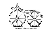 Lallement's [Pierre Lallement] Velocipede [Bicycle with pedals on the front wheel] 1866 From Wheels and Wheeling; An indispensable handbook for cyclists, with over two hundred illustrations by Porter, Luther Henry. Published in Boston in  1892
