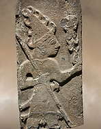Hittite monumental relief sculpture ofa God probably holding lightning rods. Late Hittite Period - 900-700 BC. Adana Archaeology Museum, Turkey. .<br /> <br /> If you prefer to buy from our ALAMY STOCK LIBRARY page at https://www.alamy.com/portfolio/paul-williams-funkystock/hittite-art-antiquities.html . Type - Adana - in LOWER SEARCH WITHIN GALLERY box. Refine search by adding background colour, place, museum etc.<br /> <br /> Visit our HITTITE PHOTO COLLECTIONS for more photos to download or buy as wall art prints https://funkystock.photoshelter.com/gallery-collection/The-Hittites-Art-Artefacts-Antiquities-Historic-Sites-Pictures-Images-of/C0000NUBSMhSc3Oo