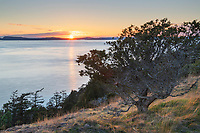Sunset over Rosario Strait from Washington park, Anacortes Washington