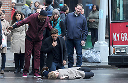Oscar Isaac and Samuel L. Jackson filming a scene for their new movie, Life Itself, in Lower Manhattan, New York City, NY, USA on March 26, 2017. Photo by Dennis Van Tine/ABACAPRESS.COM