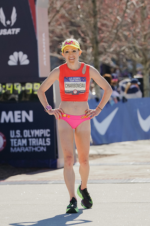 Brittany Charboneau during the 2020 U.S. Olympic marathon trials in Atlanta on Saturday, Feb. 20, 2020. Photo by Kevin D. Liles for The New York Times