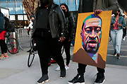 BROOKLYN, NEW YORK- APRIL 20: Protesters and Supporters attend the 'Night of the Verdict March & Rally' celebrating the guilty verdict of former Minneapolis police officer Derek Chauvin, who killed George Floyd tragically by placing his knee on George Floyd's neck resulting in his subsequent death. March & rally held at the Barclays Center Plaza on April 20, 2021 in New York City. . Photo by terrence jennings/visionquestnyc.com