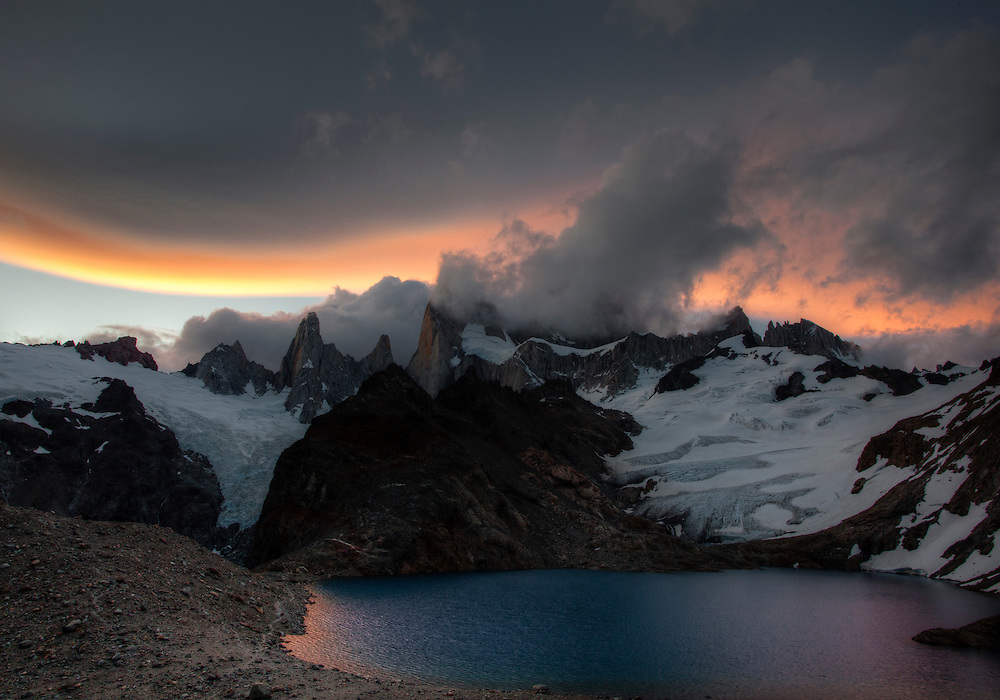 An incredible band of clouds at sunset surround Montt Fitz Roy in Patagonia, Argentina.