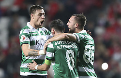 February 7, 2019 - Na - Lisbon, 06/02/2019 - SL Benfica received this evening the Sporting CP in the Stadium of Light, in game the account for the first leg of the Portuguese Cup 2018/19 semi final. Bruno Fernandes celebrates with Coates and Gudelj after scoring 2-1  (Credit Image: © Atlantico Press via ZUMA Wire)