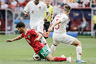 Mbark Boussoufa of Morocco and Raphael Guerreiro of Portugal during the 2018 FIFA World Cup Russia, Group B football match between Portugal and Morocco on June 20, 2018 at Luzhniki stadium in Moscow, Russia - Photo Thiago Bernardes / FramePhoto / ProSportsImages / DPPI
