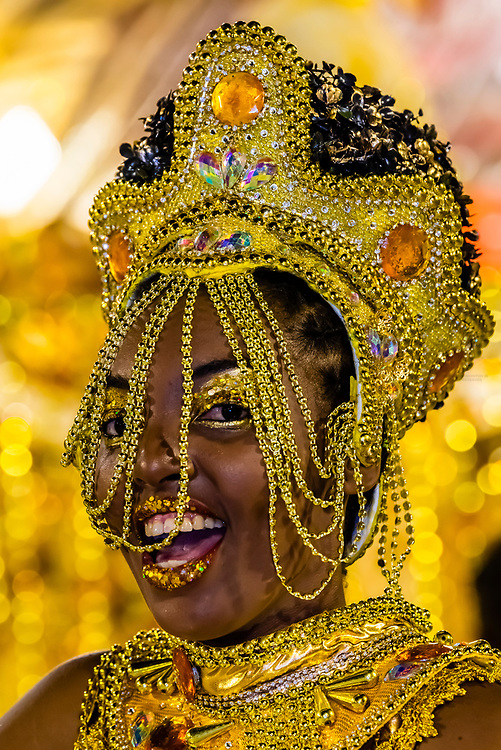 Carnaval parade of GRES Unidos do Viradouro samba school in the Sambadrome, Rio de Janeiro, Brazil.