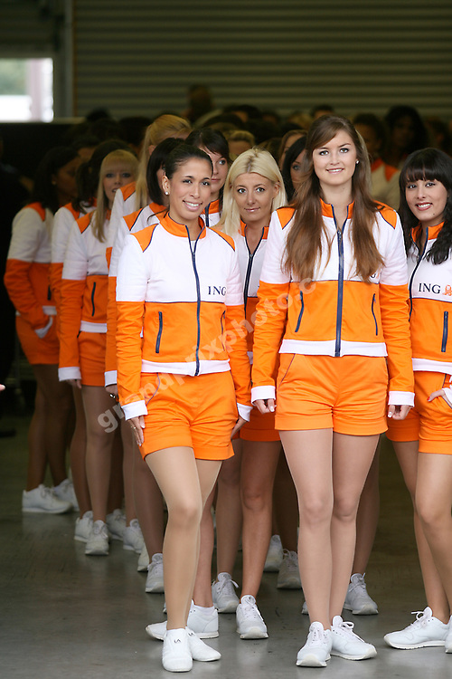 Grid girls / pit babes at the 2008 Belgian Grand Prix at Spa-Francorchamps. Photo: Grand Prix Photo