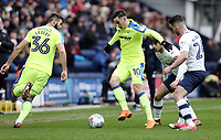 Derby County's Tom Lawrence under pressure from Preston North End's Ben Pearson and Sean Maguire<br /> <br /> Photographer Rich Linley/CameraSport<br /> <br /> The EFL Sky Bet Championship - Preston North End v Derby County - Monday 2nd April 2018 - Deepdale Stadium - Preston<br /> <br /> World Copyright © 2018 CameraSport. All rights reserved. 43 Linden Ave. Countesthorpe. Leicester. England. LE8 5PG - Tel: +44 (0) 116 277 4147 - admin@camerasport.com - www.camerasport.com